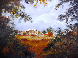 "Original Oil by Jean Johnson ""Across The Fields"" Listed Artist Stratford Kitchener Area image 2"
