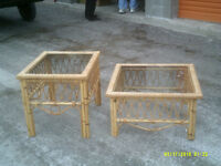 TWO RATTAN GLASS TOP TABLES