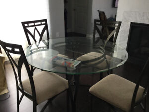 Dining table 4 chairs and two bar stool chairs