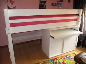 Lo-Line High Bunk Bed from 'Bunkers' Very Good Cond. with desk Modbury Heights Tea Tree Gully Area Preview