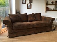 Quality large 3 seater sofa Suede/Leather/Moleskin effect settee Del Avail. £199 Ono