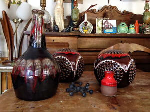 Lot Retro Vintage Rouge Ceramic Pottery Maurice Chalvignac