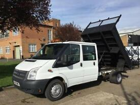 2012 12 FORD TRANSIT 2.2TDCI T350 LWB TIPPER DOUBLE CAB. 6 SEATS. LOW 45K MILES.