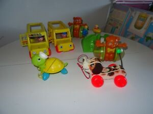 Lot #1 Ancien Jouet Fisher Price Garderie Autobus Animal