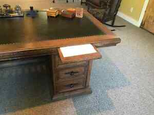 Early 20th Century Solid Oak 72 inch Leather Top Executive Desk Kingston Kingston Area image 7