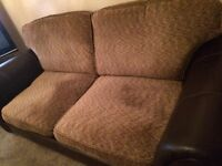3 piece DFS leather and fabric sofa
