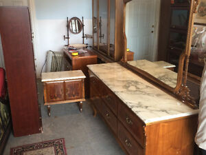 MARBLE TOP DRESSER AND NIGHT STAND