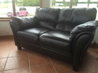 2 + 2 Brown Leather Sofa