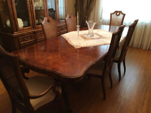 High End Wood Brown Dining Room Table with Chairs