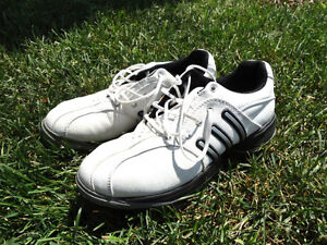 "Adidas Youth White Golf Shoes with Cleats - 5 1/2"" Size"