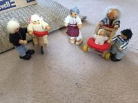 Wooden doll house dolls