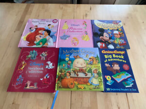 6 Large Volume Story Books - Disney Mother Goose Curious George