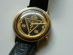 Guess Retro Womens Gold & Black Watch...Black Leather Band...