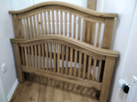Stunning Chunky Solid Oak Double Bed 18 Month Old Excellent Quality