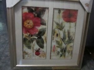 """Red Poppy, double print wall art, NEW 27"""" x 27"""""""