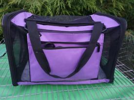 Purple Fabric Pet Crate Carrier Dog Cat Rabbit