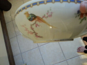 Double handled golden pheasant bowl