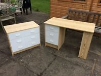 Set of pine chest of drawers and desk