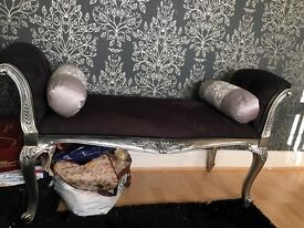 Shabby chic rococo ornate bedroom stool bench chair chaise lounge sofa