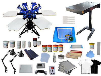 6 Color Screen Printing Kit Double Rotary Press Flash Dryer Exposure Materials