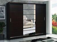 Luxury Beautiful 3 Door Sliding Wardrobe Cupboard with Full Mirror Black/White/Wenge/Walnut