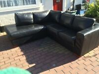 Genuine Black corner sofa in very good condition