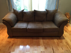 Comfortable 3 seat faux suede couch for sale London Ontario image 1