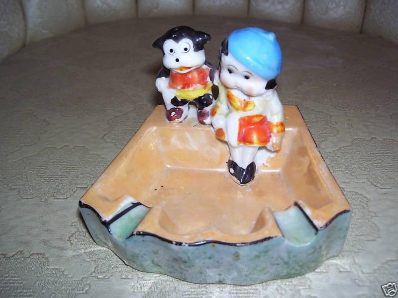 1930s Lusterware ashtray,  Betty Boop and Bimbo