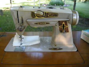 Singer Sewing Machine #2 with Cabinet & Attachments