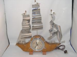 Vintage 60's Manel Ships Clock Metal Sails WORKING