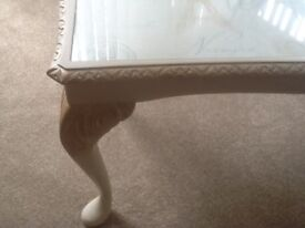 Lovely Cream And Gold Coffee Table with Glass Top