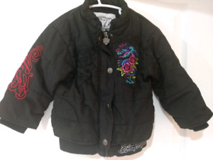 Ed Hardy quilted & embroidered bomber jacket