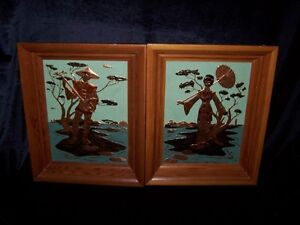 PAIR OF JAPANESE MAN & WOMAN COPPER ETCHED FRAMED.