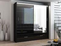 🔲🔳DRAWERS AND LED LIGHT🔲🔳 Brand New MARSYLIA Sliding Door Wardrobe in Black or White Gloss