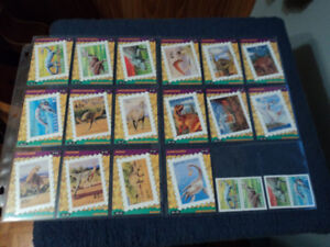 Dinosaurs Stamp trading cards collection.