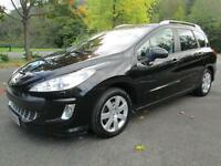 08/08 PEUGEOT 308 1.6 HDI SE SW ESTATE 7 SEATS IN MET BLACK WITH SERVICE HISTORY