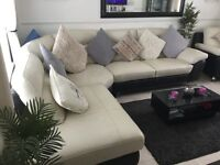 Leather corner sofa chair and poffe