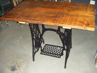 Singer Sewing Machine Cast Iron Base With Old Reclaimed Wood Top