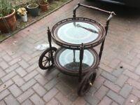 Solid antique wood tea trolly