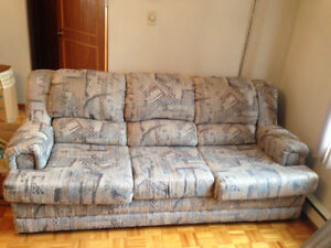 2 Brown and gray fabric sofa three seat and one seat.