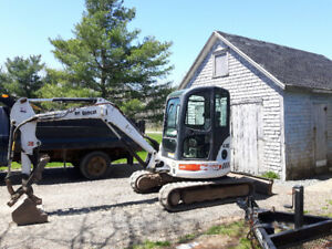 Mini excavator and brimar trailer