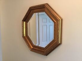 Octagonal Wall Mirror In Gold Finish