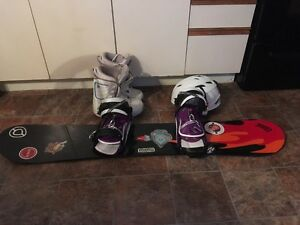 Snowboard with new bindings,new helmet and boots size 7-8 St. John's Newfoundland image 1