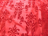 pair red fully lined damask-like curtains