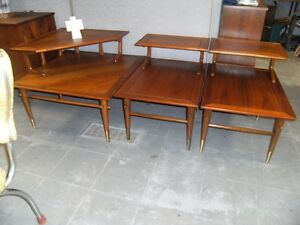 WALNUT COFFEE TABLE & END TABLE SET BY LANE
