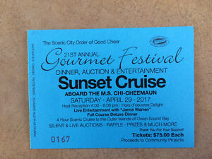 Chi-cheemaun sunset cruise ticket for tomorrow night April 29 th