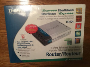 Ethernet Router, 4 port D-Link DI 604, Older, newer used