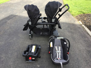 Graco Click Connect Double Stroller and Car Seat with Base