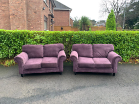 2 2 seater sofas in lilac fabric £245 very good condition