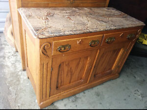 Beautiful Antique Sideboard Buffet Cabinet With Real Granite/TOP